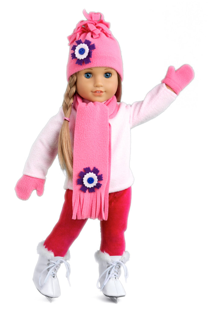 Ice Skating Fun - Clothes for 18 inch Doll - 6 Piece Gift Set - Pink Fleece Blouse with Stretchy Leggings, Hat, Scarf, Mittens and White Ice Skates