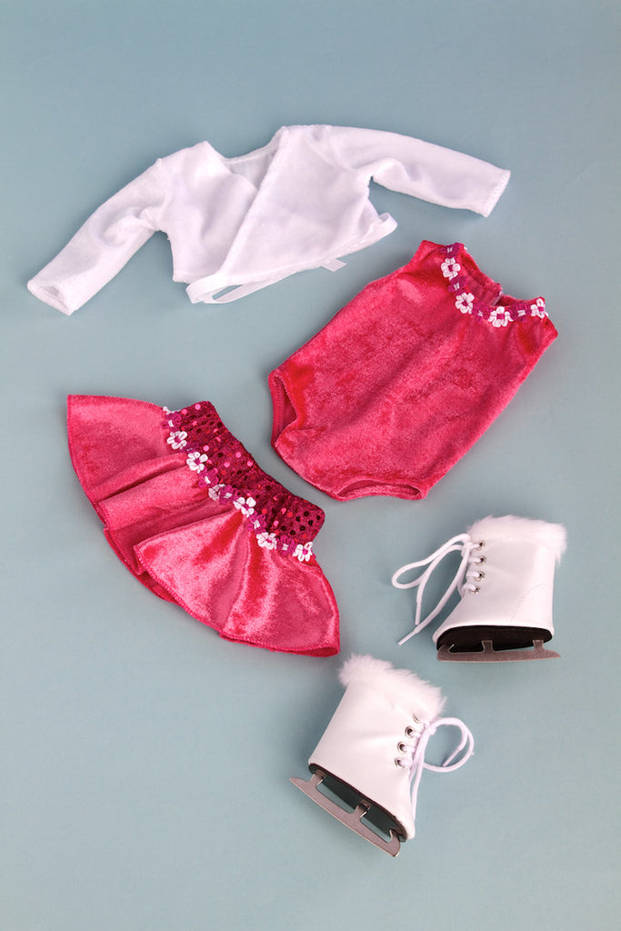 Ice Skating Girl - Clothes for 18 inch Doll - 2 in 1 Set - Hot Pink Leotard with Skirt, Ivory Warm Up Sweater and a Pair of White Ice Skates