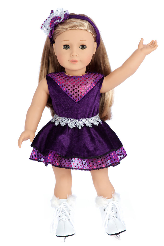 d3afcc99bf45 Ice Skating Queen - Clothes for 18 inch Doll - Purple Leotard with Ruffle  Skirt, Decorative Headband and White Skates