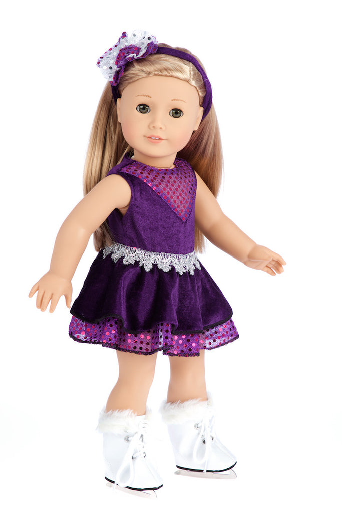Ice Skating Queen - Clothes for 18 inch Doll - Purple Leotard with Ruffle Skirt, Decorative Headband and White Skates