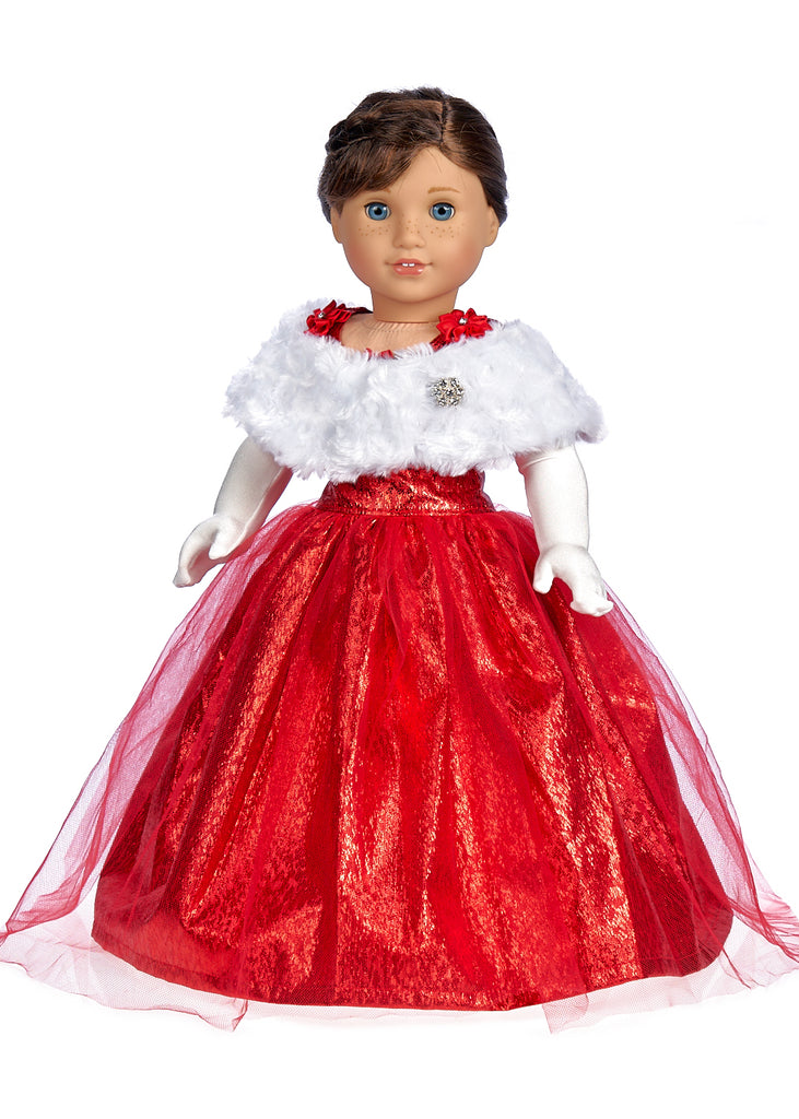 Lady in Red - 3 Piece Doll Outfit - Red Gown, Gloves and Cape