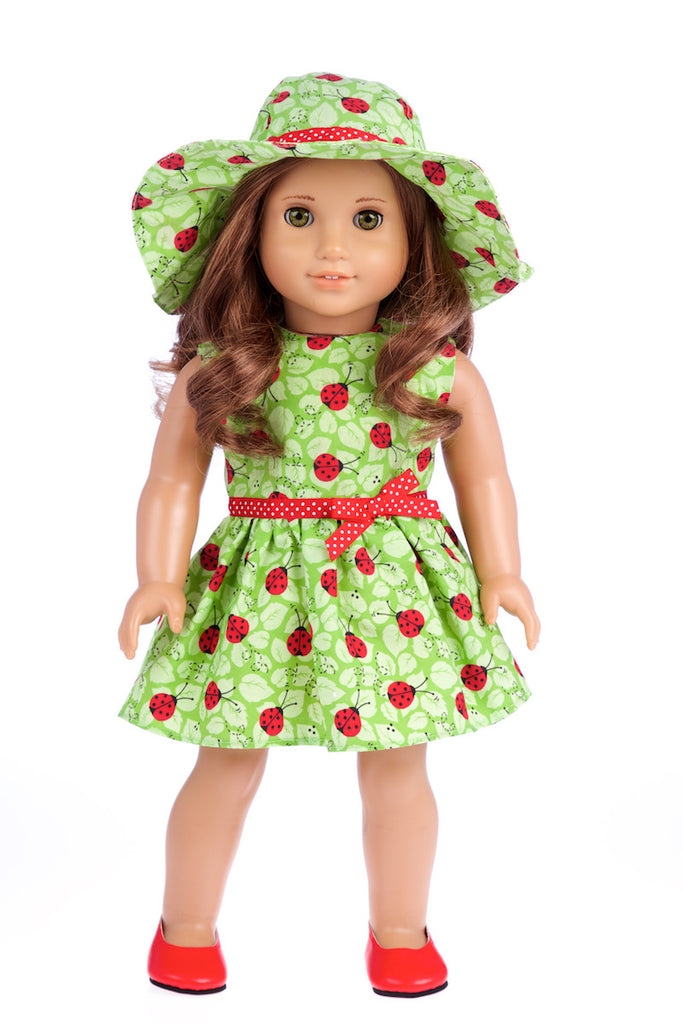 Ladybug - Clothes for 18 inch Doll - Summer Dress with Hat and Red Shoes