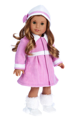 Cotton Candy - Clothes for 18 inch Doll - Pink Parka with Hood, Short Ivory Dress and Pink Boots
