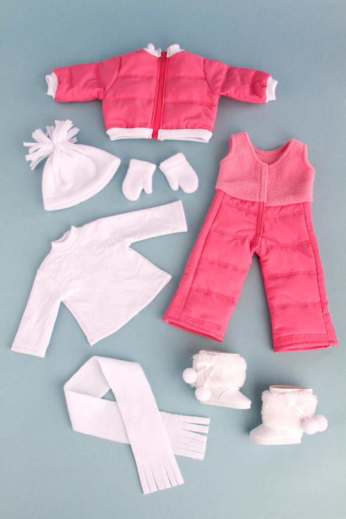 Let It Snow - Clothes for 18 inch Doll - 7 Piece Complete Snowsuit - Pink Snow Pants and Jacket, White Turtle Neck, Hat, Scarf, Mittens and Boots