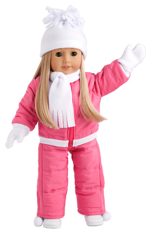 Pink Poncho - Clothes for 18 inch Doll - Pink Fleece Poncho, Headband, Brown Leggings, Sherpa Boots