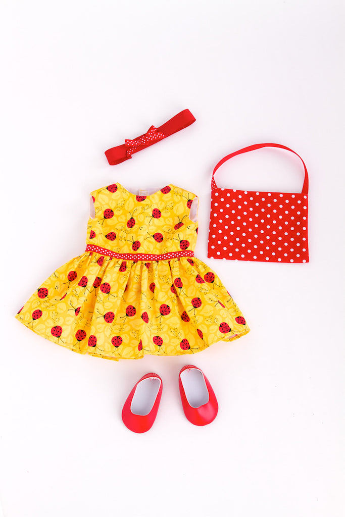 Let's Go Shopping - Clothes for 18 inch Doll - Yellow Ladybug Dress with Shopping Bag, Red Shoes and matching Headband