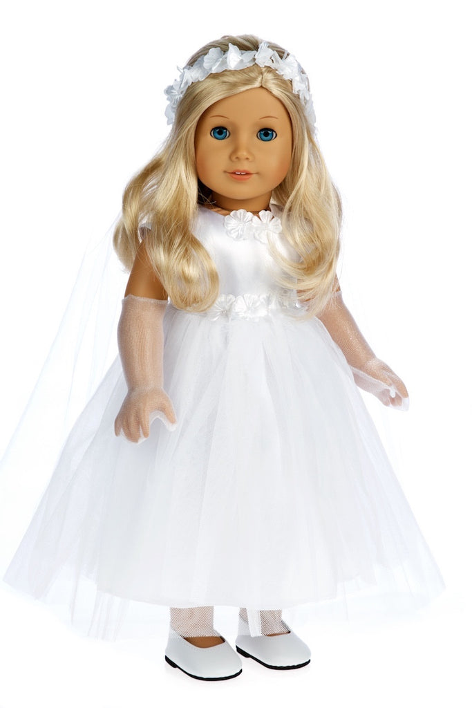 Little Angel - Clothes for 18 inch Doll - White Satin Communion Dress with Veil and Long Gloves and White Shoes