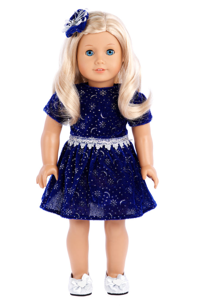 Midnight Blue - Clothing for 18 inch Doll - Dark Blue Sparkling Holiday Dress with matching Silver Shoes