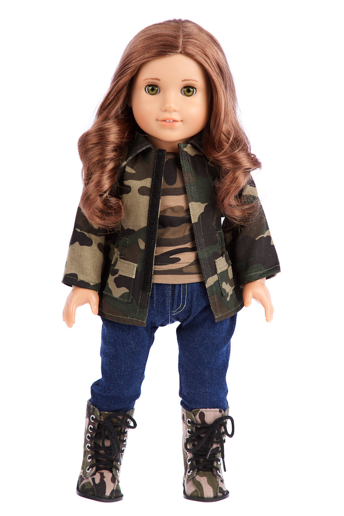 Military Style - 4 piece doll outfit - Camouflage Jacket T-shirt Jeans and Camouflage Boots  sc 1 st  Dreamworld Collections & Military Style - 4 Piece Doll Outfit - Camouflage Jacket - 18 inch ...