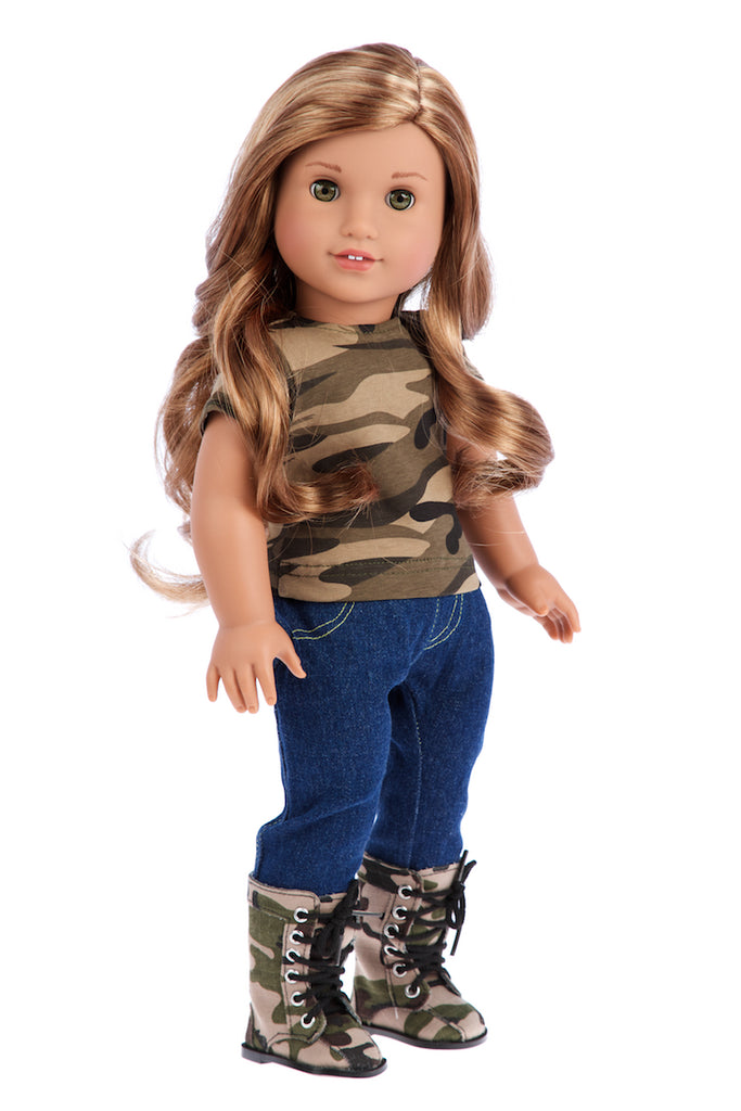 Military Style - 4 piece doll outfit - Camouflage Jacket, T-shirt, Jeans and Camouflage Boots