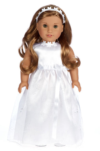Pretty Pink - Doll Gown for 18 inch American Girl Doll includes Necklace and Headpiece