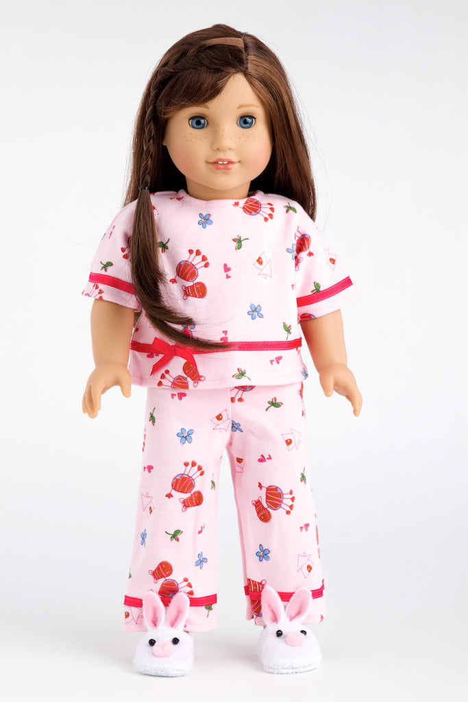 Perfect Sleepover - Clothes for 18 inch Doll - Pink Cozy Pajama with White Bunny Slippers