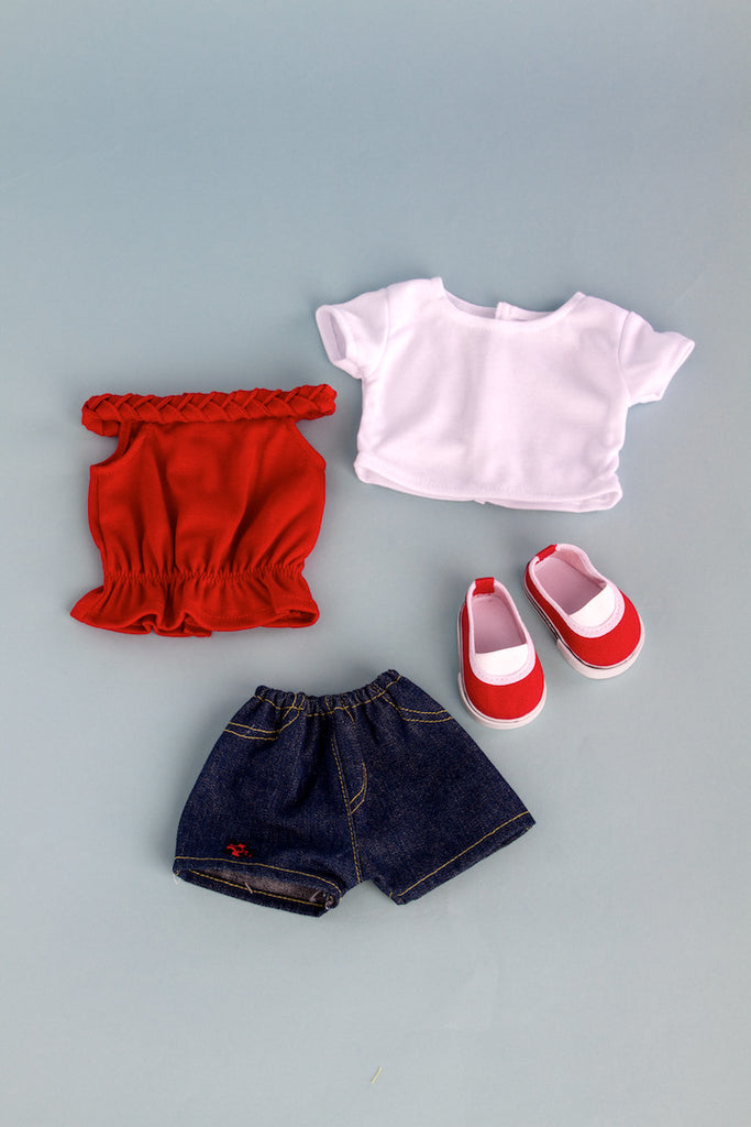 Picnic Time - Clothes for 18 inch Doll - 4 Piece Outfit - White T-Shirt, Red Tank Top, Denim Shorts and Red Canvas Shoes