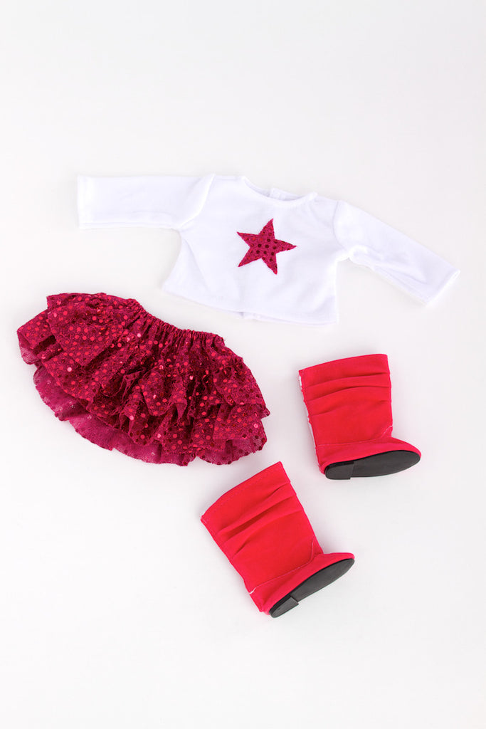 Pink Star - Clothes for 18 inch Doll - White Blouse with Pink Star, Pink Sequin Ruffle Skirt and Hot Pink Boots