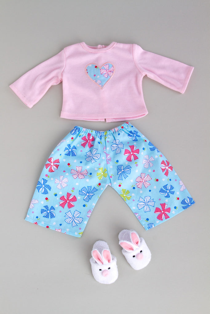 Pinky Pie - Clothes for 18 inch Doll - Cotton Pajama Top with Flannel Caprice and Bunny Slippers