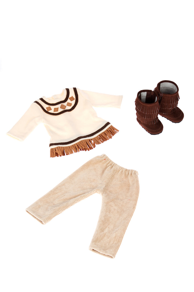 Pocahontas - Doll Clothes for 18 inch Dolls - 3 Piece Doll Outfit - Ivory Tunic, Corduroy Pants and Brown Boots