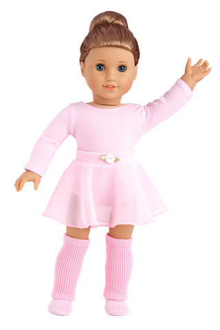 Prima Ballerina - Clothes for 18 inch Doll - 3 Piece Ballet Outfit - Pink Leotard with Tutu, White Tights and Slippers