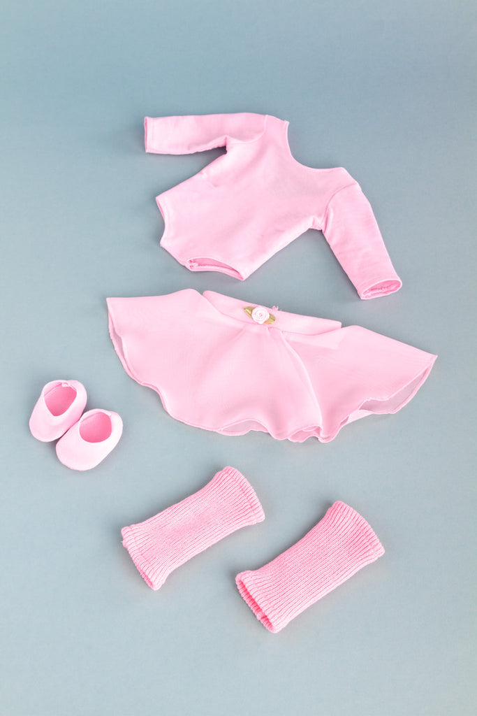 Practice Time - Clothes for 18 inch Doll - Ballet Outfit includes Pink Leotard and Skirt, Leg Warmers and Ballet Slippers