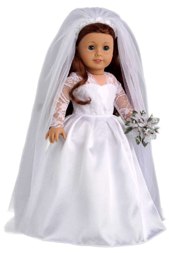 princess kate clothes for 18 inch doll royal wedding dress with white shoes bouquet and tulle veil - Ameeican Girl Doll