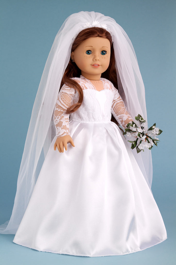 Princess Kate - Clothes for 18 inch Doll - Royal Wedding Dress with White Shoes, Bouquet and Tulle Veil