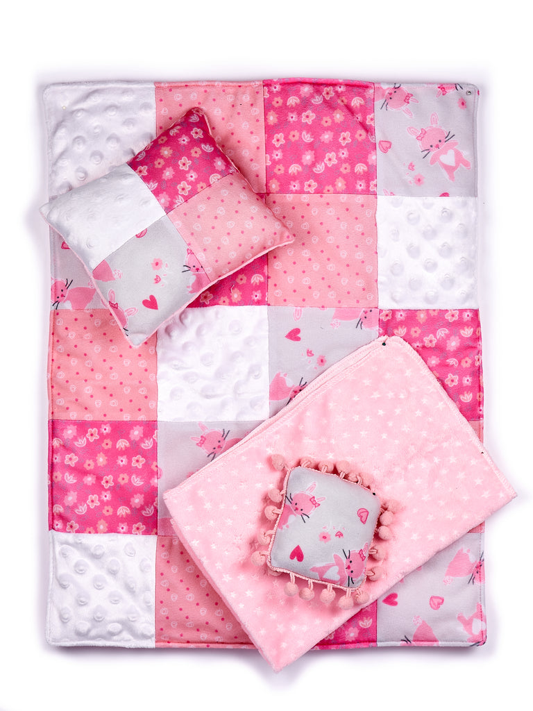 Quilt - 4 Piece 18 inch Doll Bedding Set - Fits American Girl Doll and Other 18 inch Dolls