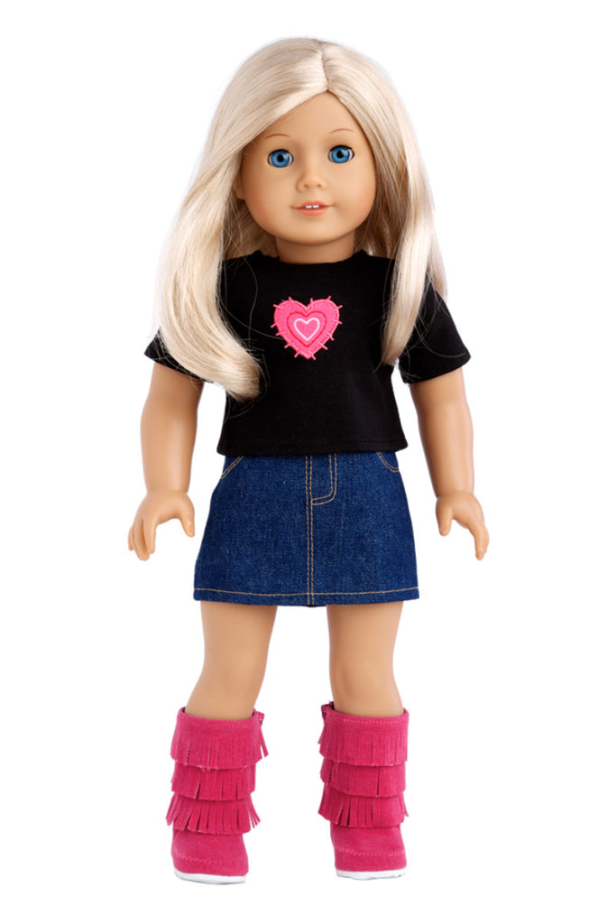rock star clothes for 18 inch doll 3 piece outfit t shirt denim skirt and hot pink boots - Ameeican Girl Doll