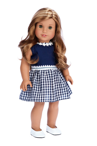 Silver Snowflake - 18 inch Doll Blue Gown with White Stole and Long Gloves