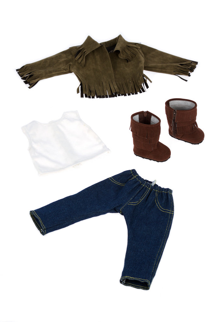 Siege Jacket - Clothes for 18 inch Doll - 4 Piece Outfit - Jacket, Tank Top, Skinny Jeans and Boots