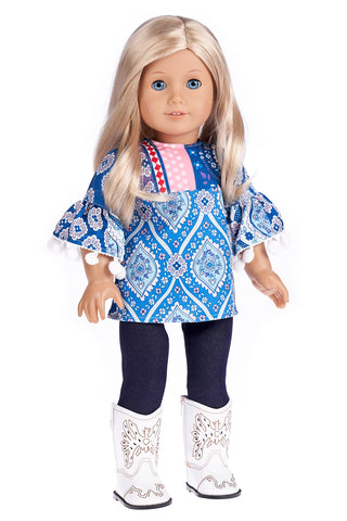 Olympic Gymnast - Clothes for 18 inch Doll - 3 Piece Outfit - Gymnastic Leotard, Warmup Pants, Shoes