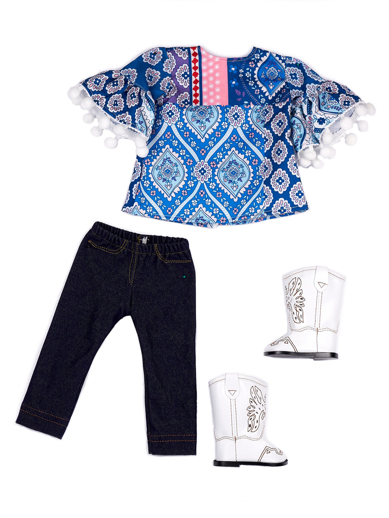 Stylish - 3 Piece Doll Outfit for 18 inch American Girl Doll - Blue Tunic, Leggings and White Cowboy Boots.
