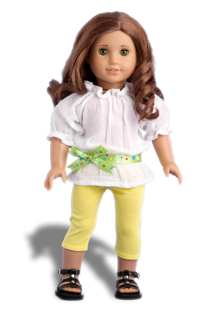 Sunny Day - Clothes for 18 inch Doll - White Cotton Blouse with Yellow Leggings, Green Belt and Black Sandals