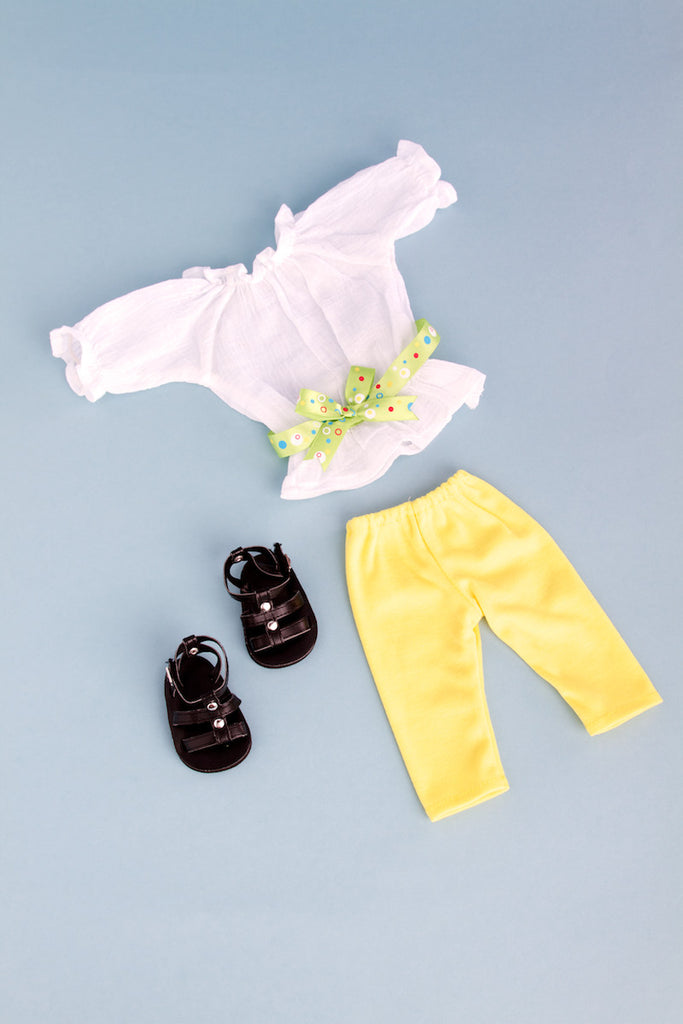 4c0152b90e205 ... Sunny Day - Clothes for 18 inch Doll - White Cotton Blouse with Yellow  Leggings, ...