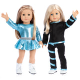 Super Skater - 2 Complete Ice Skating Doll Outfits for 18 inch Dolls - 5 Pieces - Leotard, Skirt, Pants, Jacket, White Skates