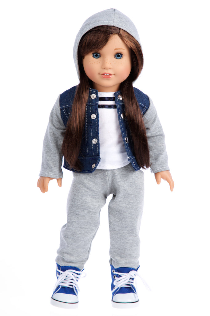 Tomboy - 4 Piece Doll Outfit - Jeans Jacket, Grey Sweatpants, T-shirt and Blue Boots