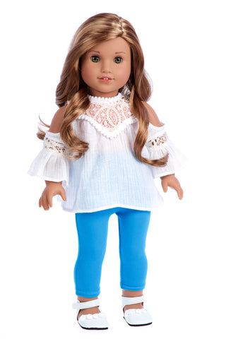 Feeling Happy - Western Doll Clothes for American Girl Doll - Colorful Skirt, White T-Shirt, Blue Jeans Vest, White Cowgirl Boots