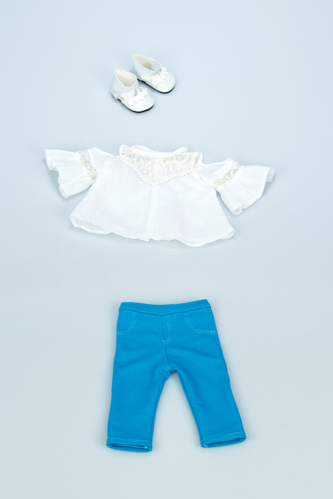Trendy Girl - 3 Piece Doll Outfit - White Cotton Blouse, Turquoise Leggings and White Shoes