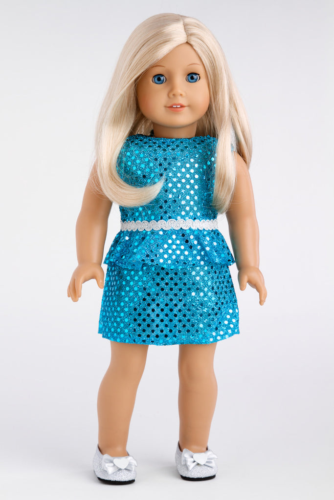 Turquoise - Clothes for 18 inch Doll - Sparkling Holiday Party Dress with matching Silver Shoes