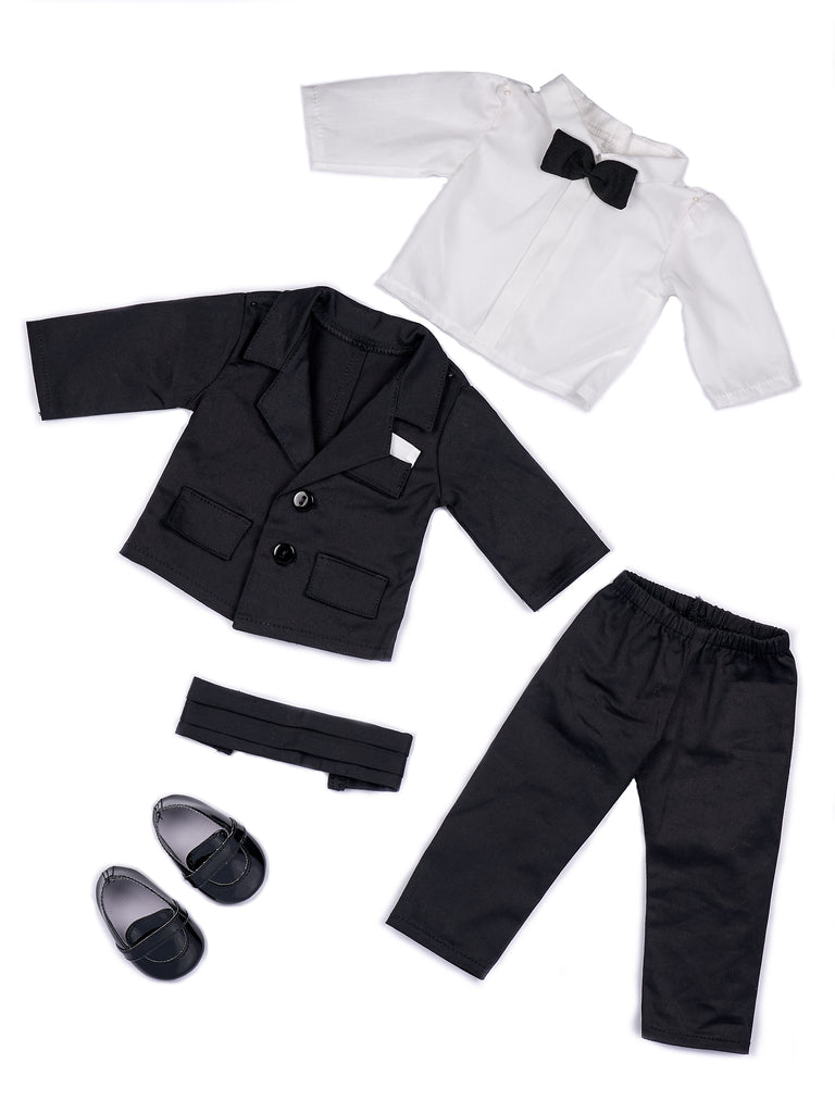 Tuxedo -  18 Inch Doll Clothes - 5 Piece Tuxedo Set - Black Jacket, Pants, Belt, White Shirt, Dress Shoes