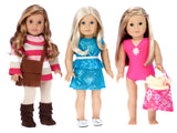 Doll Value Playset 1 - Three Full Doll Outfits (9 pieces) for 18 inch Dolls