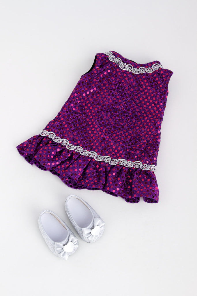 Violet - Clothes for 18 inch Doll - Purple Sequin Dress with Silver Belt and Shoes