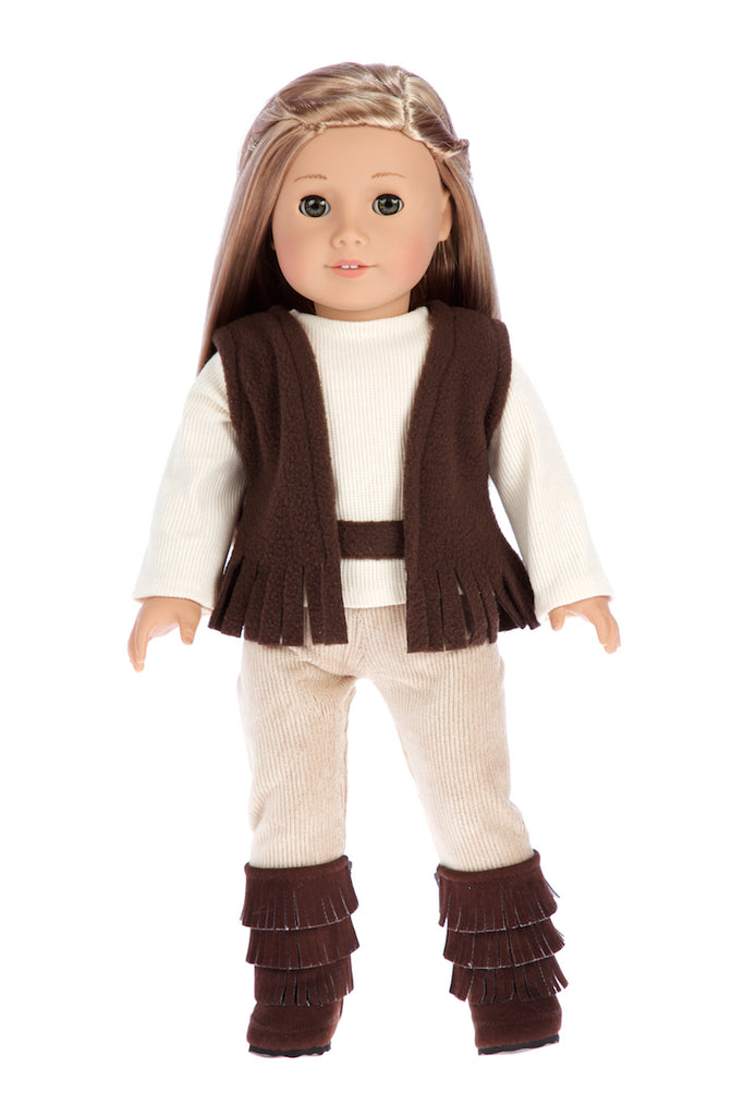 Warm and Cozy - Doll Clothes for 18 inch Dolls - 4 Piece Doll Outfit - Brown Vest, Ivory Blouse, Corduroy Pants and Brown Boots