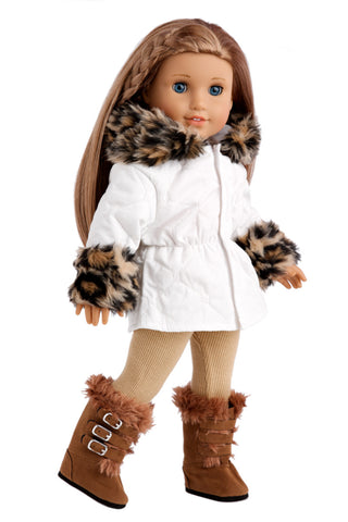 Winter Extravaganza - Clothes for 18 inch Doll - 3 Piece Outfit - Red Quilted Parka with Black Leggings and White Boots