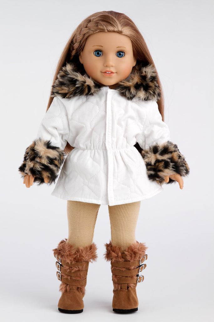 Winter Fun - Clothes for 18 inch Doll - Ivory Parka with Leggings and Boots