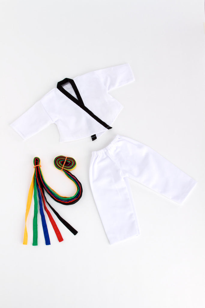Yin and Yang - Clothes for 18 inch Doll - Karate / Tae Kwon Do Uniform - Blouse, Pants and 5 Belts: Yellow, Green, Red, Blue and Black