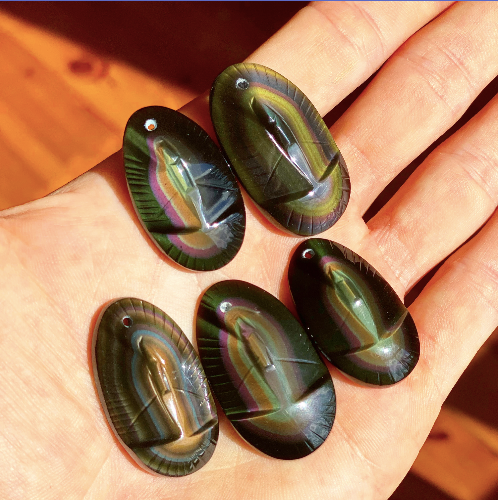 Rainbow Obsidian Mary Pendants