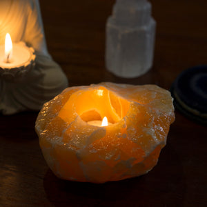 Orange Calcite Candle Holder