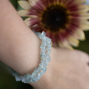 Aquamarine Polished Chip Bracelet