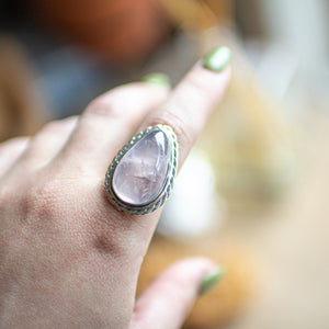 Rose Quartz Teardrop S/S Ring