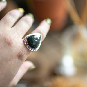 Bloodstone Teardrop S/S Ring