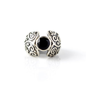 Onyx Swirly S/S Ring (7)
